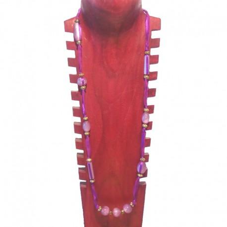 Collier perles fantaisie, tissu et perles métal - Violet