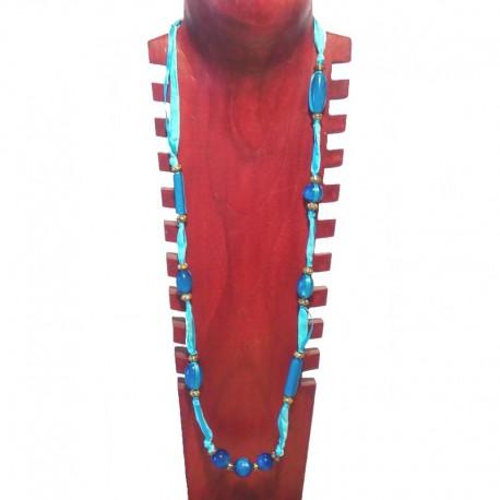 Collier perles fantaisie, tissu et perles métal - Bleu