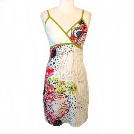 Indian short dress back smocked - M size - White - Model 03