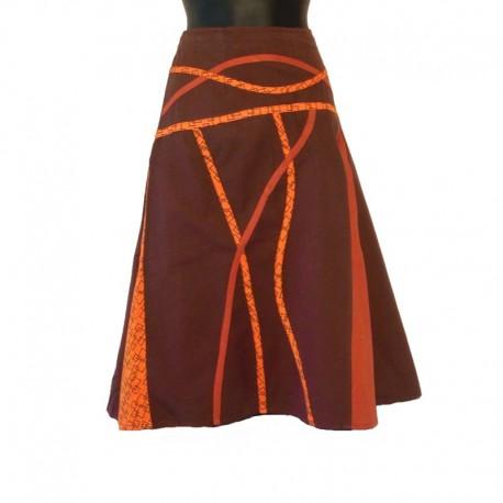Jupe mi-longue évasée en coton - Marron et orange