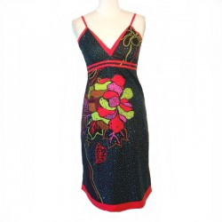Indian short dress in cotton - Size S - Black - Model 01