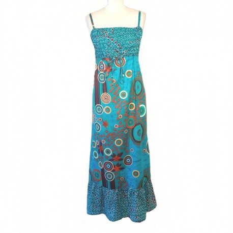 Long Indian dress in cotton - S/M - Blue