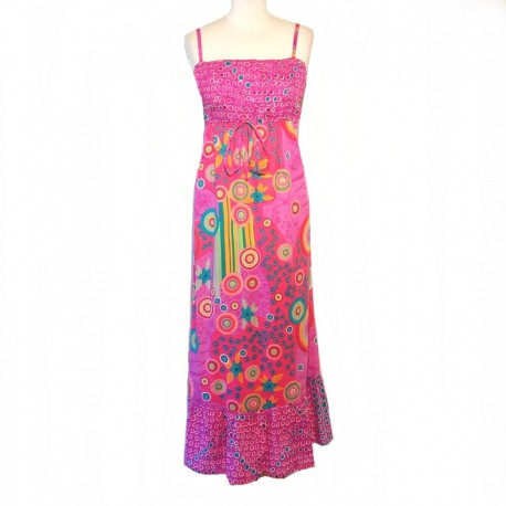 Long Indian dress in cotton - S/M - Pink