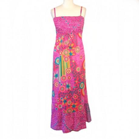 Robe longue indienne en coton - S/M - Rose
