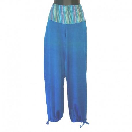 Pantalon rabat uni ton sur ton - Bleu clair