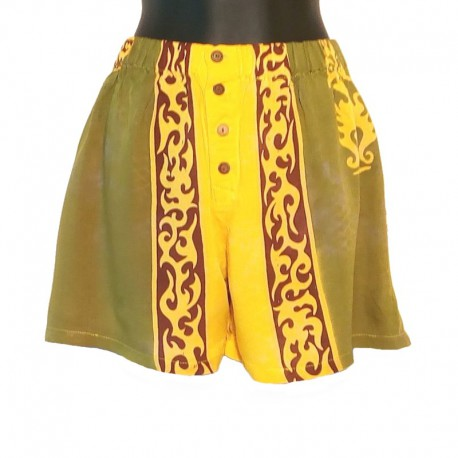 Women's button shorts - Model 07 - Green and yellow with tribal design