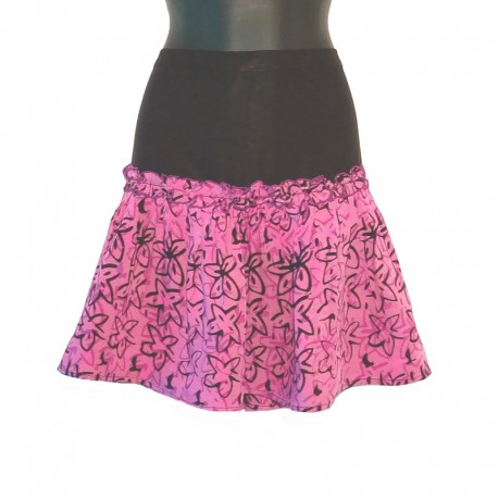 Flared short skirt in rayon - Purple