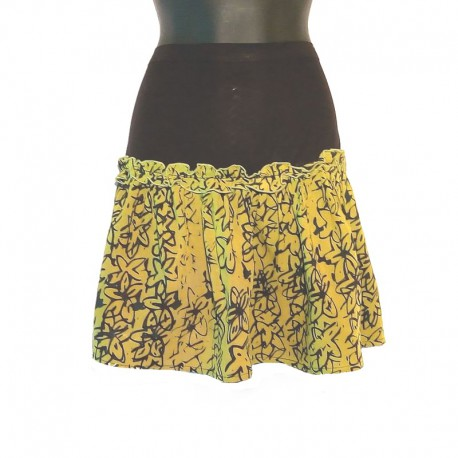 Flared short skirt in rayon - Green