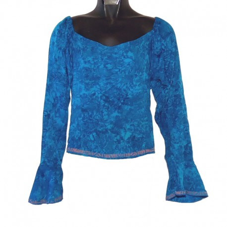 Rayon top flared sleeves - Blue