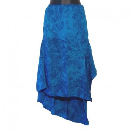 Long asymetric rayon skirt - Blue
