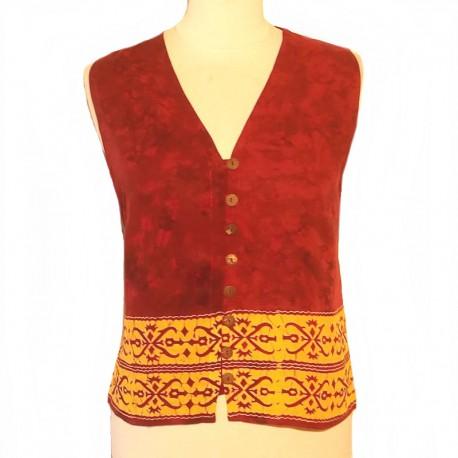 Rayon sleeveless top - Burgundy and yellow