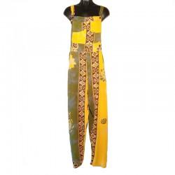 Salopette rayonne jaune et vert avec motifs taille L