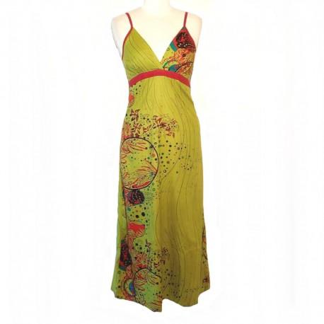 Robe longue indienne dos smocké - Taille M - Vert - Modèle 03