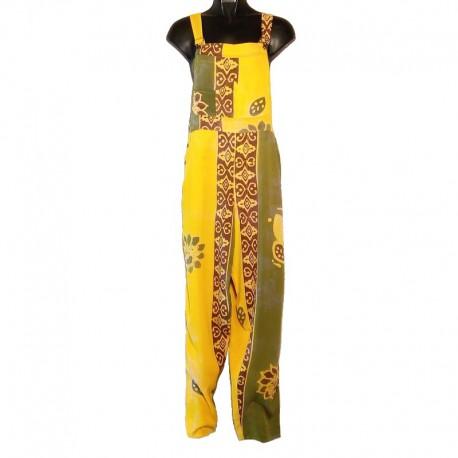 Salopette rayonne motifs taille M jaune et vert