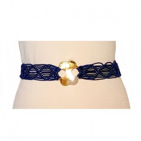 Ceinture ethnique corde bleu et nacre