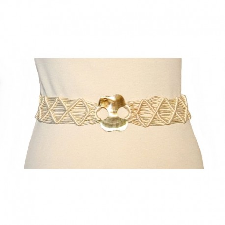 Ethnic belt cream rope and mother of pearl