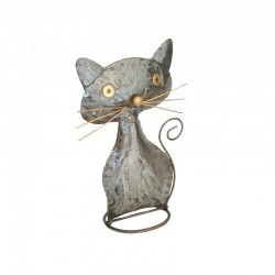 Metal plump cat H30 cm