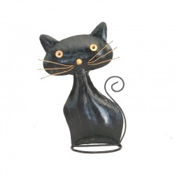 Black metal plump cat H30 cm