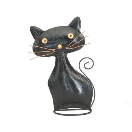 Chat dodu noir en métal H30 cm