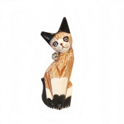 Cat H25 cm in brown and white tabby wood