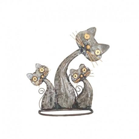 Famille 3 chats en métal H26 cm