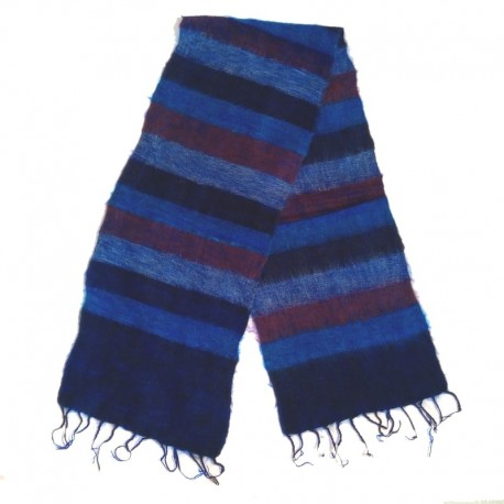 Striped wool scarf Yak 150x30 cm - Model 52