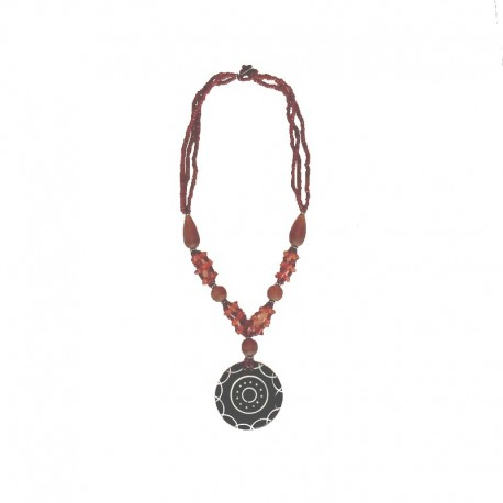 Brown beads necklace with nacre Rosace