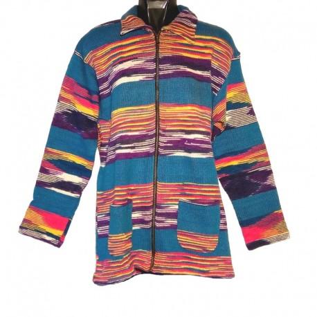 Ethnic blue, purple and white cotton vest