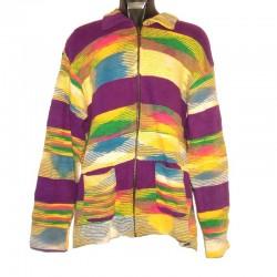 Gilet ethnique coton jaune et violet
