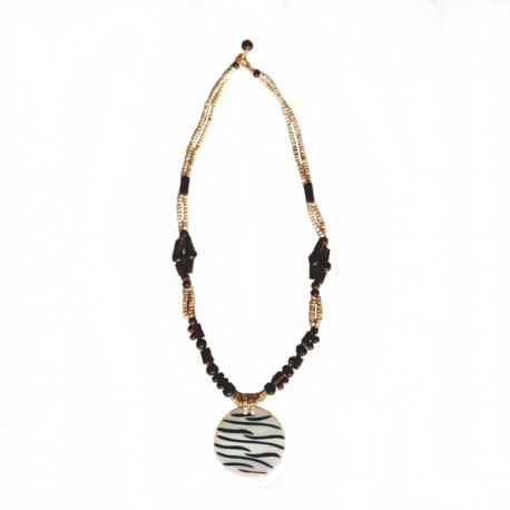 Necklace beads and nacre Zebra - Cream colored - picture 2