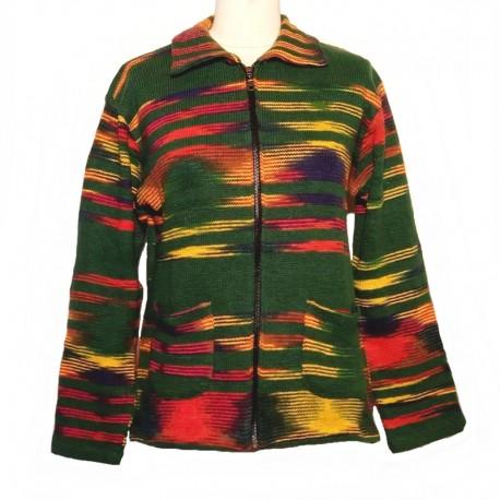 Ethnic dark green cotton vest