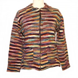 Gilet ethnique coton rayé multicolore