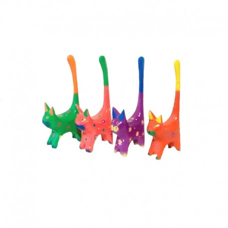 4 bicolored cats H11 cm in painted wood