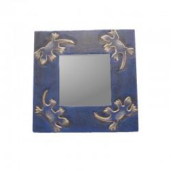 Miroir 20 cm bleu chiné design gecko