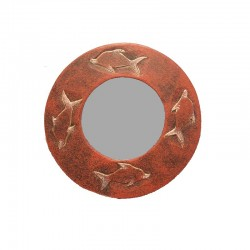 Mirror Ø 20 cm mixed red Dolphin design
