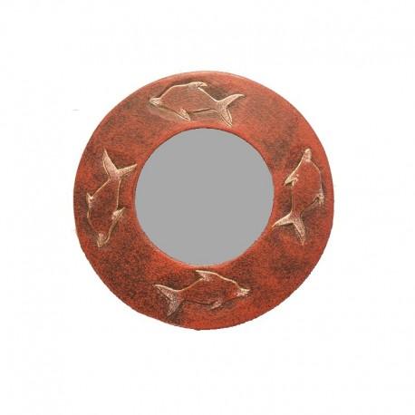 Miroir Ø 20 cm rouge chiné design Dauphin