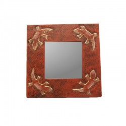 Mirror 20 cm mixed red Gecko design