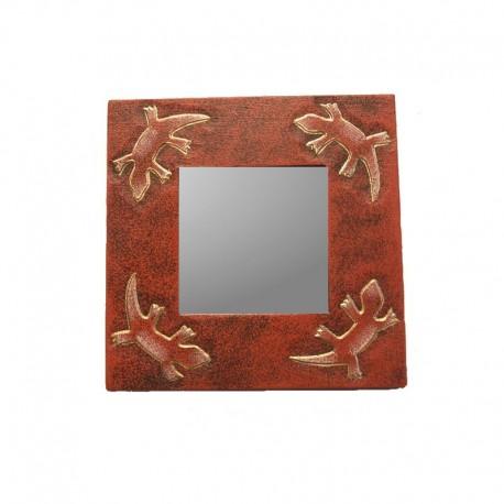 Miroir 20 cm rouge chiné design guecko