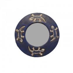 Miroir Ø 20 cm bleu chiné design Gecko