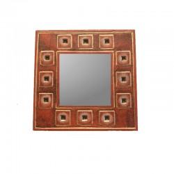 Miroir 20 cm rouge chiné design carré