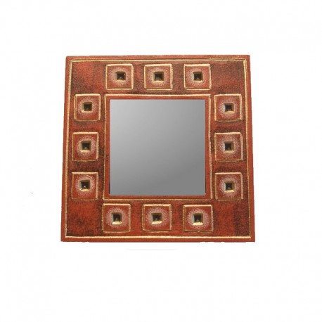Miroir 20 cm rouge chiné design carré