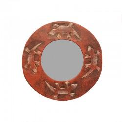 Miroir Ø 20 cm rouge chiné design Gecko