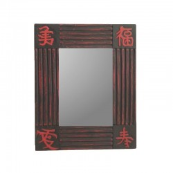 Mirror 26 cm black background with red design