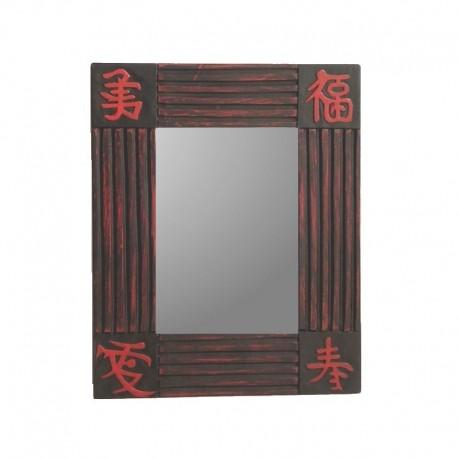 Mirror 26 cm black background with red design