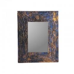 Miroir 25 cm bleu et doré chiné