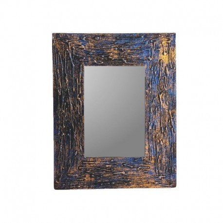 Mirror 25 cm blue and golden mixed