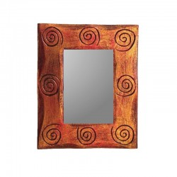 Gold and red mixed mirror 25 cm spiral design