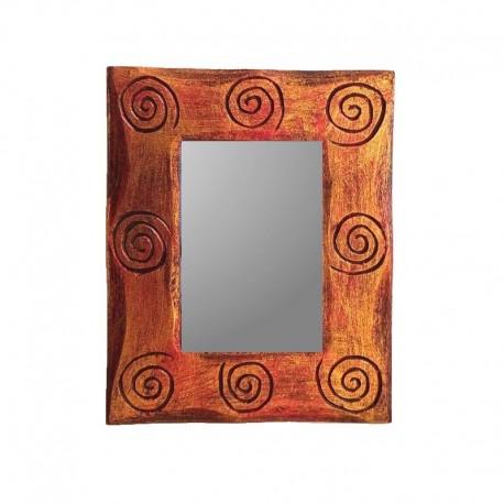 Miroir 25 cm doré et rouge design spirale