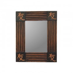Mirror 26 cm black background with golden design