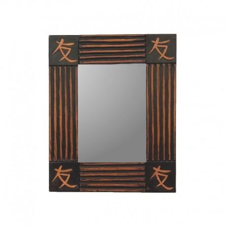 Miroir 26 cm fond noir design doré